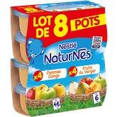 Nestlé Purée fruits Naturnes 4/6 mois Pommes Verger Coings - 8x130g